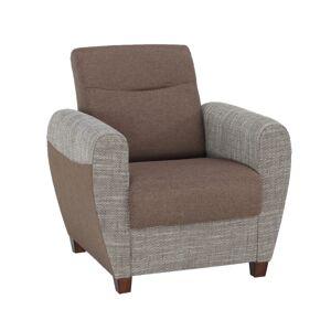 Jídelní židle, koženka šedá/bílý bok, madlo, chrom