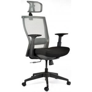 židle MOTOSTUHL M5 černý plast, látka černá+šedá